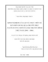 Kinh nghiệm lý luận và thực tiễn về ký chân dung qua chuyên mục Người đương thời của Đài Truyền hình Việt Nam (2001 - 2006