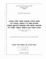 Công ước New York năm 1958 về công nhận và thi hành phán quyết trọng tài nước ngoài và việc thực hiện tại Việt Nam