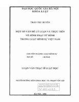 Một số vấn đề lý luận và thực tiễn về hình phạt tử hình trong luật hình sự Việt Nam