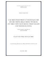 Các biện pháp pháp lý nhằm hạn chế rủi ro trong hoạt động tín dụng (từ thực tiễn Ngân hàng TMCP Sài Gòn Chi nhánh Đà Nẵng