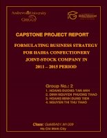 Formulating business strategy for Haiha confectionery joint-stock company in 2011 - 2015 period