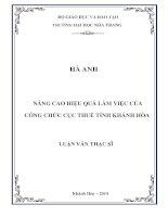 Nâng cao hiệu quả làm việc của công chức Cục thuế Tỉnh Khánh Hòa