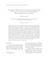 An Empirical Study of Firm Environmental and Financial Performance Evidence from Small and Medium Manufacturing Firms in Vietnam