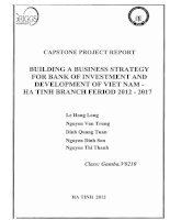 Building a busines strategy for bank of Investment and Development of Vietnam - Ha Tinh branch period 2012-2017