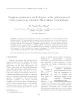 Corporate governance and its impact on the performance of firms in emerging countries  The evidence from Vietnam