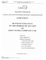 Business strategy in the period of 2011 - 2015 at Kien Vuong company LTD