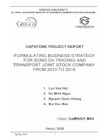 Formulating business strategy for Song Da Trading and Transport Joint Stock company from 2010 to 2015