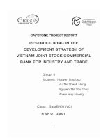 Restructuring in the development strategy of VietNam joint stock commercial bank for industry and trade