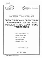 Credit risk and credit risk management at Vietnam foreign trade bank - Vung Tau branch