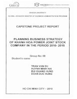 Planning business strategy of Khanh Hoa power joint stock company in the period 2010 - 2015