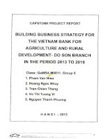 Building business strategy for The Vietnam Bank for Agriculture and Rural Development - Do Son branch in the period 2013 to 2018
