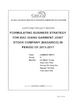 Formulating busines strategy for Bac Giang garment joint stock company (Bagarco) in period of 2013-2017