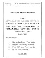 Retail banking business strategic building in Joint Stock Bank for investment and development of Vietnam (BIDV) - Quang Binh Branch period 2012-2017