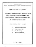 Formulate busines strategy for Dinh Vu port development and investment joint stock company in period of 2013-2018