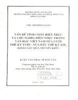 Vấn đề tính chất hiện thực và chủ nghĩa hiện thực trong văn học Việt Nam nửa cuối thế kỷ XVIII - Nửa đầu thế kỷ XIX  Khảo sát qua Truyện Kiều Luận văn ThS Văn học Việt Nam