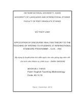 Application of discourse analysis theory to the teaching of writing to students at International Standard Programme-ULIS-VNU = Áp dụng lý thuyết phân tích diễn