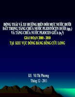 ĐỘNG THÁI VÀ XU HƯỚNG BIẾN ĐỔI MỰC NƯỚC DƯỚI ĐẤT TRONG TẦNG CHỨA NƯỚC PLEISTOCEN DƯỚI (qp1) VÀ TẦNG CHỨA NƯỚC PLIOCEN GIỮA (n22) GIAI ĐOẠN 2000  2010 TẠI KHU VỰC ĐỒNG BẰNG SÔNG CỬU LONG