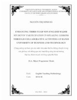 Enhancing third-year non-English major students' participation in speaking lessons through collaborative activities at Hanoi University of Business and Technolo
