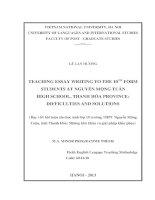Teaching essay writing to the 10th form students at Nguyễn Mộng Tuân high school, Thanh Hóa province Dạy viết bài luận cho học sinh lớp 10 trường THPT Nguyễn Mộ