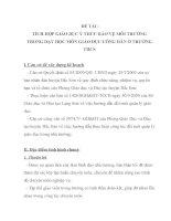 TÍCH HỢP GIÁO DỤC Ý THỨC BẢO VỆ MÔI TRƯỜNG TRONG DẠY HỌC MÔN GIÁO DỤC CÔNG DÂN Ở TRƯỜNG THCS