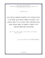 Xây dựng nhóm nghiên cứu nhằm nâng cao hiệu quả hoạt động nghiên cứu khoa học của giảng viên trường Đại học Khoa học Xã hội và Nhân văn Thành phố Hồ Chí Minh[15154136