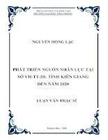 Phát triển nguồn nhân lực tại sở VH-TT-DL tỉnh Kiên Giang đến năm 2020