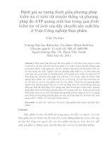 Đánh giá sự tương thích giữa phương pháp kiểm tra vi sinh vật truyền thống và phương pháp đo ATP quang sinh học trong quá trình kiểm tra vệ sinh của dây chuyền sa
