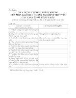 Dự thảo :  XÂY DỰNG CHƯƠNG TRÌNH KHUNG CỦA MÔN GIÁO DỤC HƯỚNG NGHIỆP Ở THPT VỚI CÁC CHUYÊN ĐỀ LỒNG GHÉP