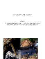 SKKN Tích hợp giáo dục bảo vệ môi trường trong dạy học môn Địa Lý ở trường THCS Bạch Đích