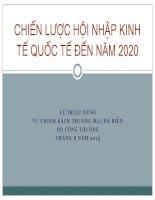 CHIẾN LƯỢC HỘI NHẬP KINH TẾ QUỐC TẾ ĐẾN NĂM 2020