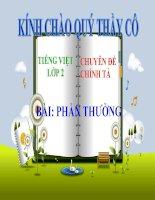 Bài giảng Tiếng Việt 2 tuần 2 bài Chính tả - Tập chép Phần thưởng.Phân biệt SX, ĂNĂNG. Bảng chữ cái