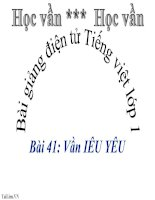 Bài giảng Tiếng Việt 1 bài 41 Vần IÊU YÊU