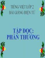 Bài giảng Tiếng Việt 2 tuần 2 bài Tập đọc - Phần thưởng