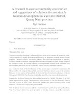 A research to assess community ecotourism and suggestions of solutions for sustainable tourism development in Van Don District, Quang Ninh province