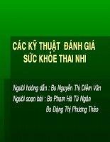 Các kỹ thuật đánh giá sức khỏe thai nhi, BS.nguyễn Thị Diễm Vân, BS.Phạm Hà Tú Ngân, BS.Đặng Thị Phương Thảo