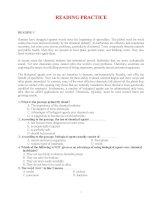 Bài tập trắc nghiệm đọc hiểu Tiếng Anh