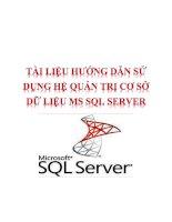 HƯỚNG DẪN SỬ DỤNG HỆ QUẢN TRỊ CƠ SỞ DỮ LIỆU MS SQL SERVER 2000
