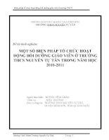 SÁNG KIẾN KINH NGHIỆM MỘT SỐ BIỆN PHÁP TỔ CHỨC HOẠT ĐỘNG BỒI DƯỠNG GIÁO VIÊN Ở TRƯỜNG THCS NGUYỄN TỰ TÂN TRONG NĂM HỌC 2010-2011