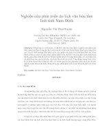 Nghiên cứu phát triển du lịch văn hóa tâm linh tỉnh Nam Định