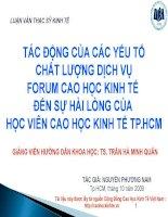 TÁC ĐỘNG của các yếu tố CHẤT LƯỢNG DỊCH VỤFORUM CAO học KINH tế đến sự hài LÒNG của học VIÊN CAO học KINH tế TPHCM
