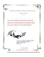 Quan hệ ngoại giao Việt Nam với các nước phương Tây dưới thời vua Gia Long và vua Minh Mạng