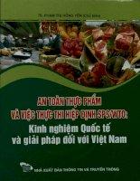 An toàn thực phẩm và việc thực thi hiệp định SPS.WTO - Kinh nghiệm quốc tế và giải pháp đối với Việt Nam