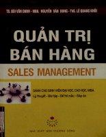 Quản trị bán hàng = Sales management - Dành cho sinh viên đại học, cao học, MBA - Lý thuyết, bài tập, đề thi mẫu, đáp án