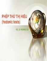 PHÉP THỬ THỊ HIẾU (hedonic tests)