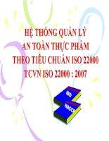 HỆ THỐNG QUẢN LÝ AN TOÀN THỰC PHẨM THEO TIÊU CHUẨN ISO 22000 TCVN ISO 22000 -2007