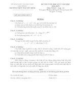 Đề thi cuối học kì 1 môn toán lớp 12