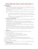TỔNG HỢP KIẾN THỨC CƠ BẢN HOÁ HỌC 8 -9