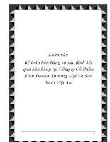 Luận văn Kế toán bán hàng và xác định kết quả bán hàng tại Công ty Cổ Phần Kinh Doanh Thương Mại Và Sản Xuất Việt An