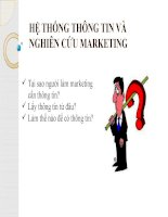 Slide môn marketing căn bản: Chương 2: Hệ thống thông tin và nghiên cứu marketing