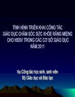 TÌNH HÌNH TRIỂN KHAI CÔNG TÁC GIÁO DỤC CHĂM SÓC SỨC KHỎE RĂNG MIỆNG  CHO HSSV TRONG CÁC CƠ SỞ GIÁO DỤC NĂM 2011